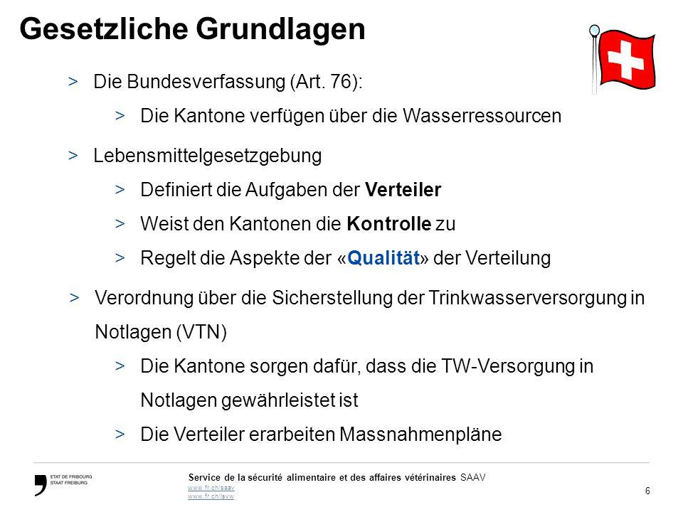 6 Service de la sécurité alimentaire et des affaires vétérinaires SAAV www.fr.ch/saav www.fr.ch/lsvw Gesetzliche Grundlagen >Die Bundesverfassung (Art