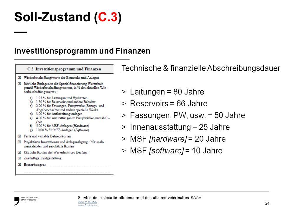 24 Service de la sécurité alimentaire et des affaires vétérinaires SAAV www.fr.ch/saav www.fr.ch/lsvw Soll-Zustand (C.3) — Investitionsprogramm und Fi