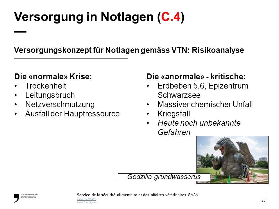 26 Service de la sécurité alimentaire et des affaires vétérinaires SAAV www.fr.ch/saav www.fr.ch/lsvw Versorgung in Notlagen (C.4) — Versorgungskonzep