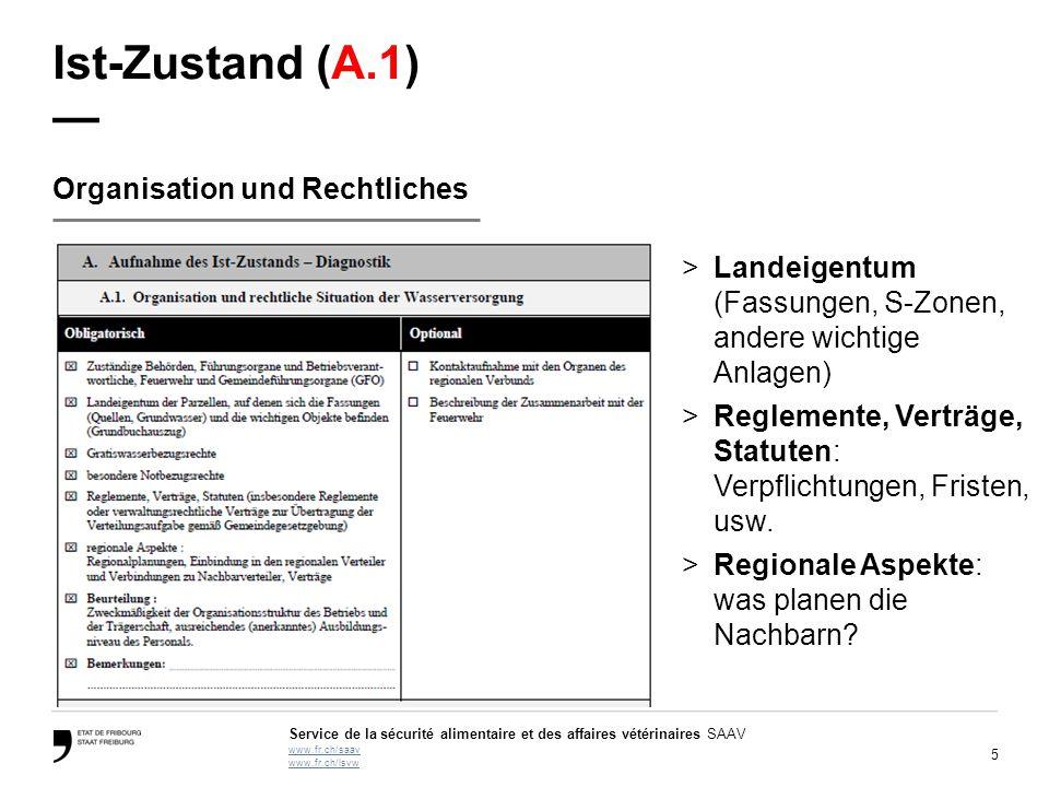 5 Service de la sécurité alimentaire et des affaires vétérinaires SAAV www.fr.ch/saav www.fr.ch/lsvw Ist-Zustand (A.1) — Organisation und Rechtliches
