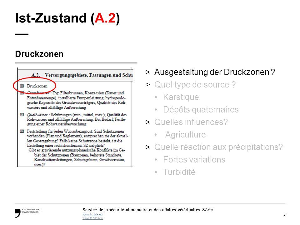 8 Service de la sécurité alimentaire et des affaires vétérinaires SAAV www.fr.ch/saav www.fr.ch/lsvw Ist-Zustand (A.2) — Druckzonen >Ausgestaltung der