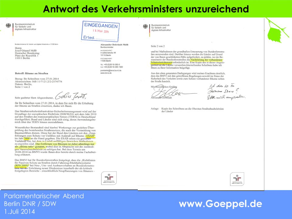 www.Goeppel.de Antwort des Verkehrsministers unzureichend