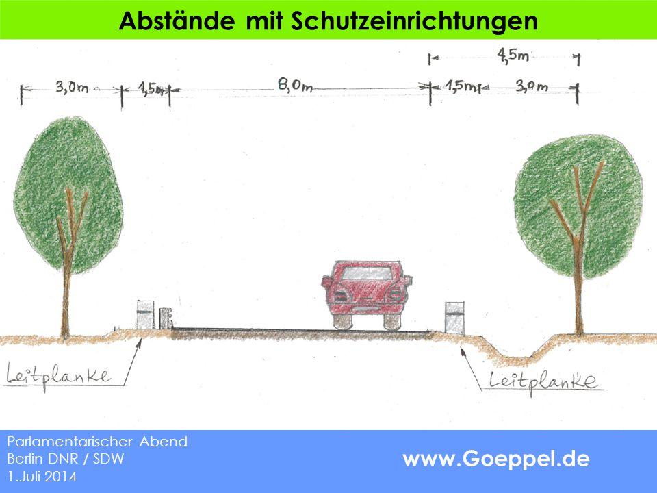 www.Goeppel.de Abstände mit Schutzeinrichtungen Parlamentarischer Abend Berlin DNR / SDW 1.Juli 2014