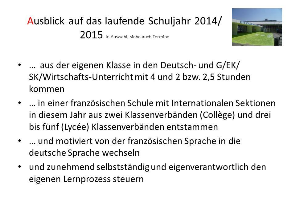 Ausblick auf das laufende Schuljahr 2014/ 2015 in Auswahl, siehe auch Termine … aus der eigenen Klasse in den Deutsch- und G/EK/ SK/Wirtschafts-Unterricht mit 4 und 2 bzw.