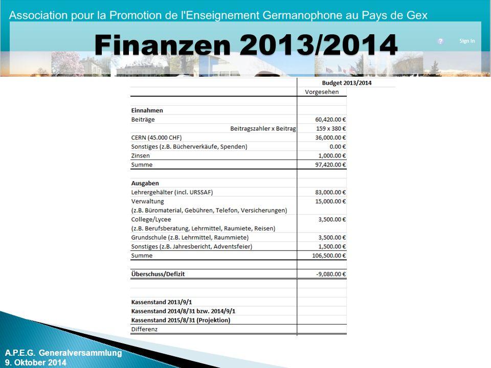 A.P.E.G. Generalversammlung 9. Oktober 2014 Finanzen 2013/2014