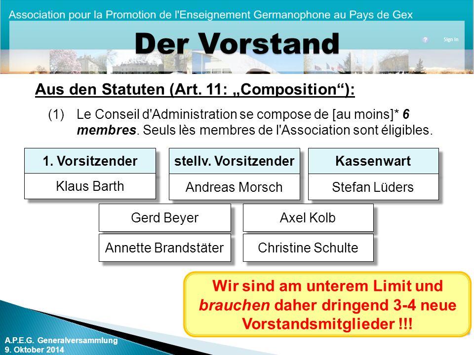 A.P.E.G.Generalversammlung 9. Oktober 2014 Der Vorstand Kassenwart Stefan Lüders stellv.