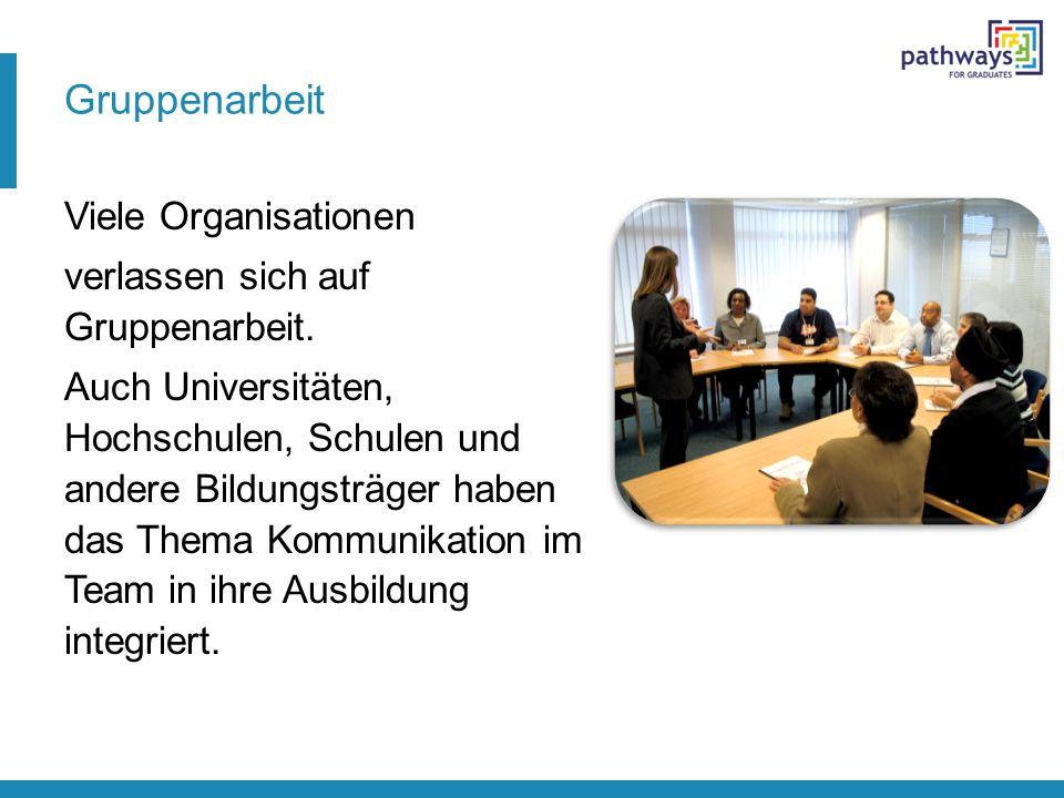 Gruppenarbeit Viele Organisationen verlassen sich auf Gruppenarbeit. Auch Universitäten, Hochschulen, Schulen und andere Bildungsträger haben das Them