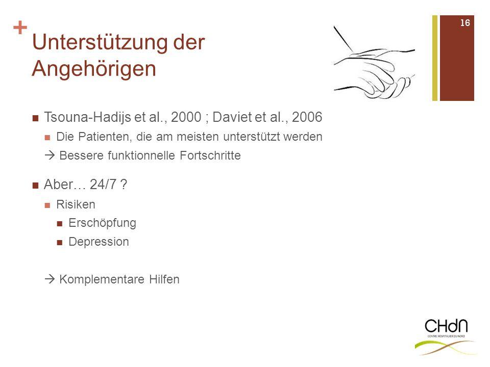 + Unterstützung der Angehörigen Tsouna-Hadijs et al., 2000 ; Daviet et al., 2006 Die Patienten, die am meisten unterstützt werden  Bessere funktionne