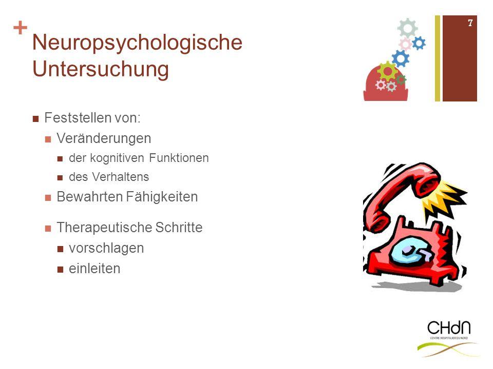 + Neuropsychologische Untersuchung Feststellen von: Veränderungen der kognitiven Funktionen des Verhaltens Bewahrten Fähigkeiten Therapeutische Schrit