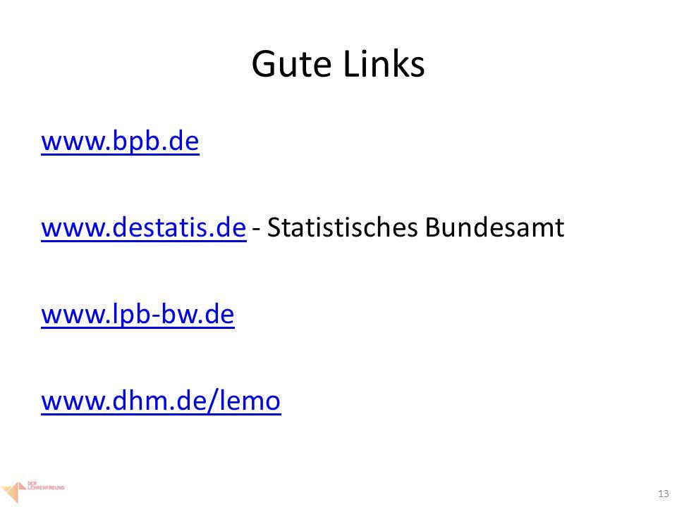 13 Gute Links www.bpb.de www.destatis.dewww.destatis.de - Statistisches Bundesamt www.lpb-bw.de www.dhm.de/lemo