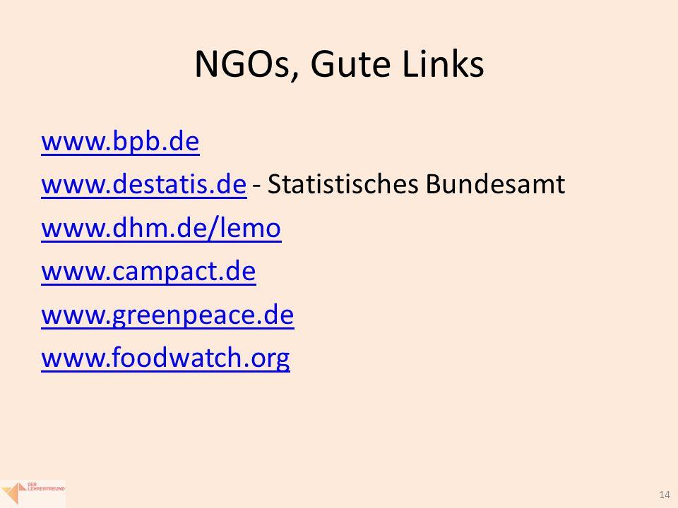 14 NGOs, Gute Links www.bpb.de www.destatis.dewww.destatis.de - Statistisches Bundesamt www.dhm.de/lemo www.campact.de www.greenpeace.de www.foodwatch.org