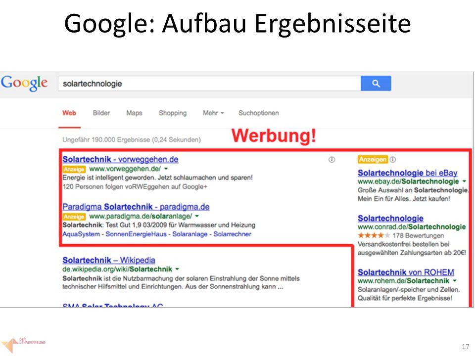 17 Google: Aufbau Ergebnisseite