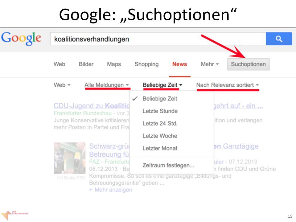 """19 Google: """"Suchoptionen"""