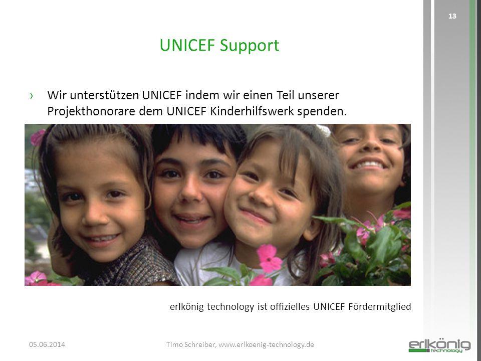 UNICEF Support ›Wir unterstützen UNICEF indem wir einen Teil unserer Projekthonorare dem UNICEF Kinderhilfswerk spenden. 05.06.2014Timo Schreiber, www