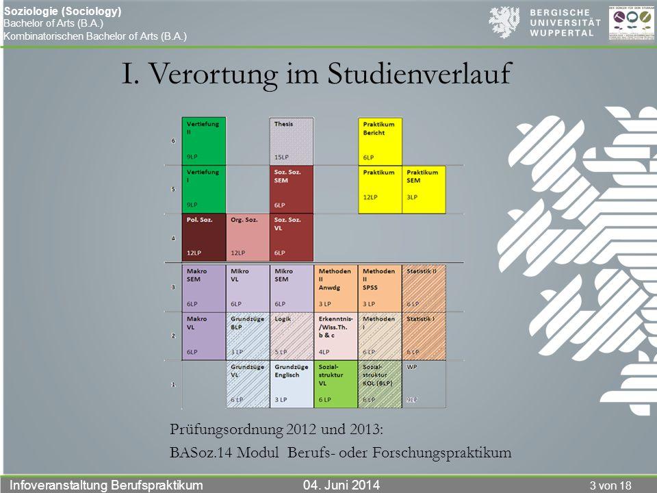 3 von 18 Infoveranstaltung Berufspraktikum 04. Juni 2014 Soziologie (Sociology) Bachelor of Arts (B.A.) Kombinatorischen Bachelor of Arts (B.A.) I. Ve