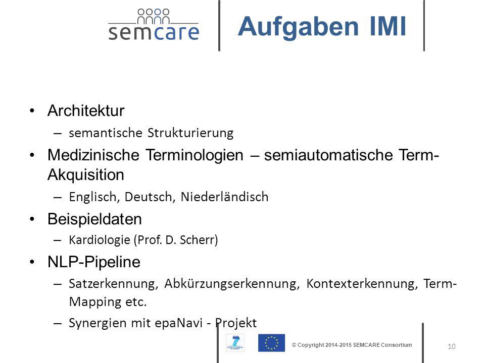 © Copyright 2014-2015 SEMCARE Consortium Architektur – semantische Strukturierung Medizinische Terminologien – semiautomatische Term- Akquisition – En