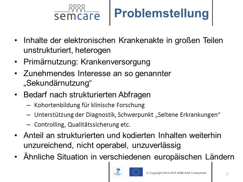 © Copyright 2014-2015 SEMCARE Consortium EU-Projekt: – Kurze Laufzeit (2 Jahre) – SME Call: konkrete Verwertungsperspektive Partner – Averbis GmbH – Freiburg (Projektkoordinator) – Erasmus Universitair – Rotterdam – Medizinische Universität Graz – Graz – St.