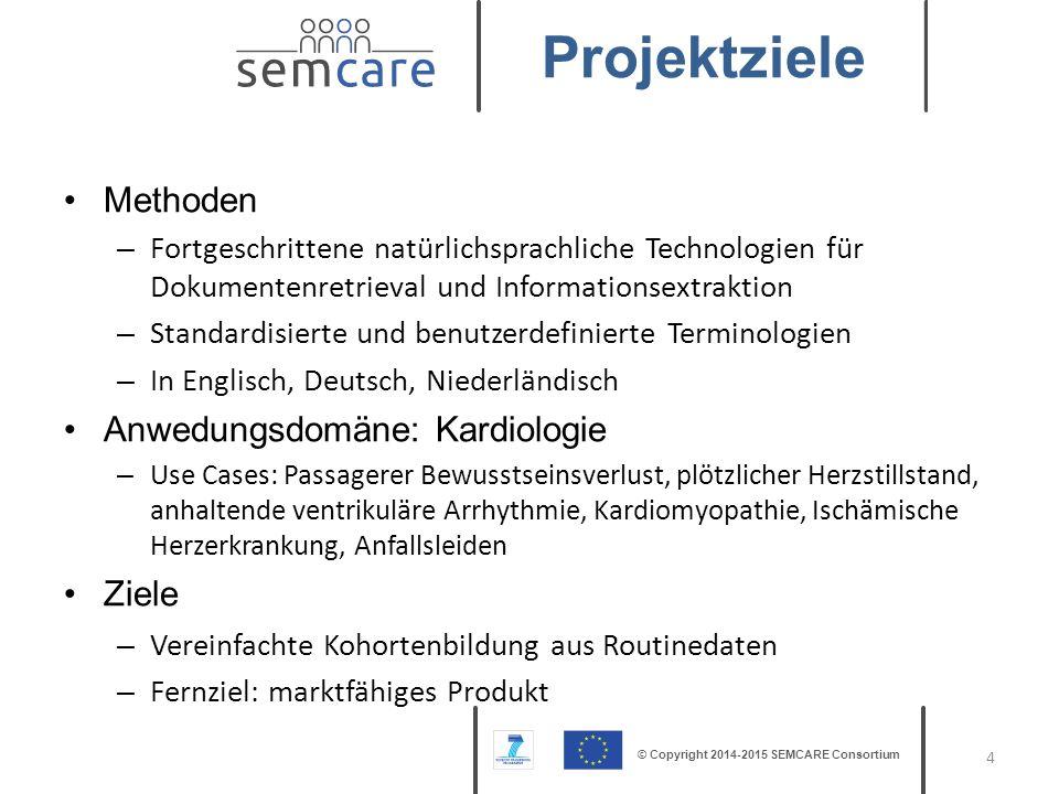 © Copyright 2014-2015 SEMCARE Consortium Methoden – Fortgeschrittene natürlichsprachliche Technologien für Dokumentenretrieval und Informationsextrakt