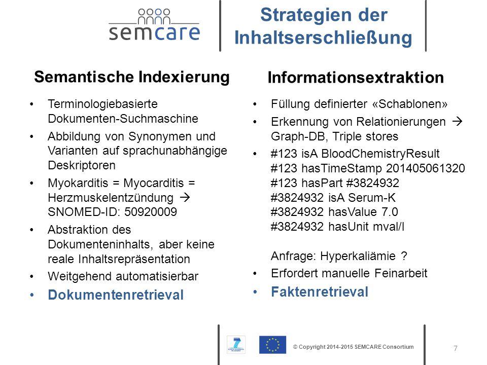 © Copyright 2014-2015 SEMCARE Consortium Terminologiebasierte Dokumenten-Suchmaschine Abbildung von Synonymen und Varianten auf sprachunabhängige Desk