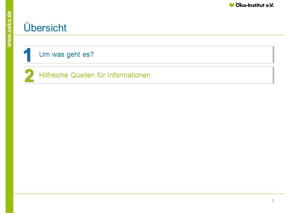 2 www.oeko.de Übersicht Um was geht es? 1 Hinweis Aktualisierung der Nummerierung: Der aktive Agendapunkt ist blau (RGB 0/106/164 und der inaktive ist