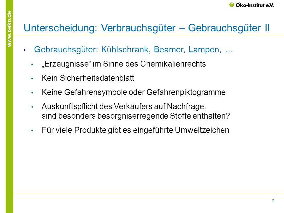 """9 www.oeko.de Unterscheidung: Verbrauchsgüter – Gebrauchsgüter II Gebrauchsgüter: Kühlschrank, Beamer, Lampen, … """"Erzeugnisse"""" im Sinne des Chemikalie"""