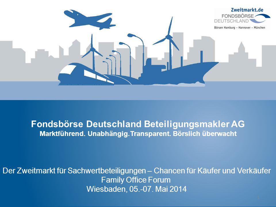 Fondsbörse Deutschland Beteiligungsmakler AG Marktführend. Unabhängig.Transparent. Börslich überwacht 1 Der Zweitmarkt für Sachwertbeteiligungen – Cha