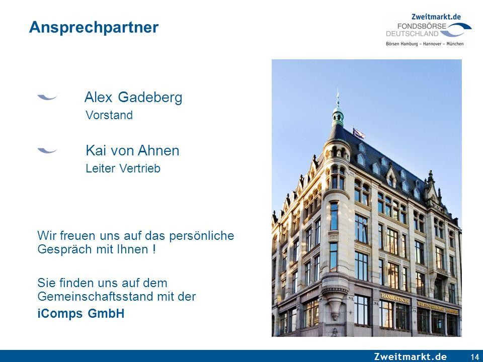 Zweitmarkt.de Ansprechpartner Alex Gadeberg Vorstand Kai von Ahnen Leiter Vertrieb Wir freuen uns auf das persönliche Gespräch mit Ihnen ! Sie finden