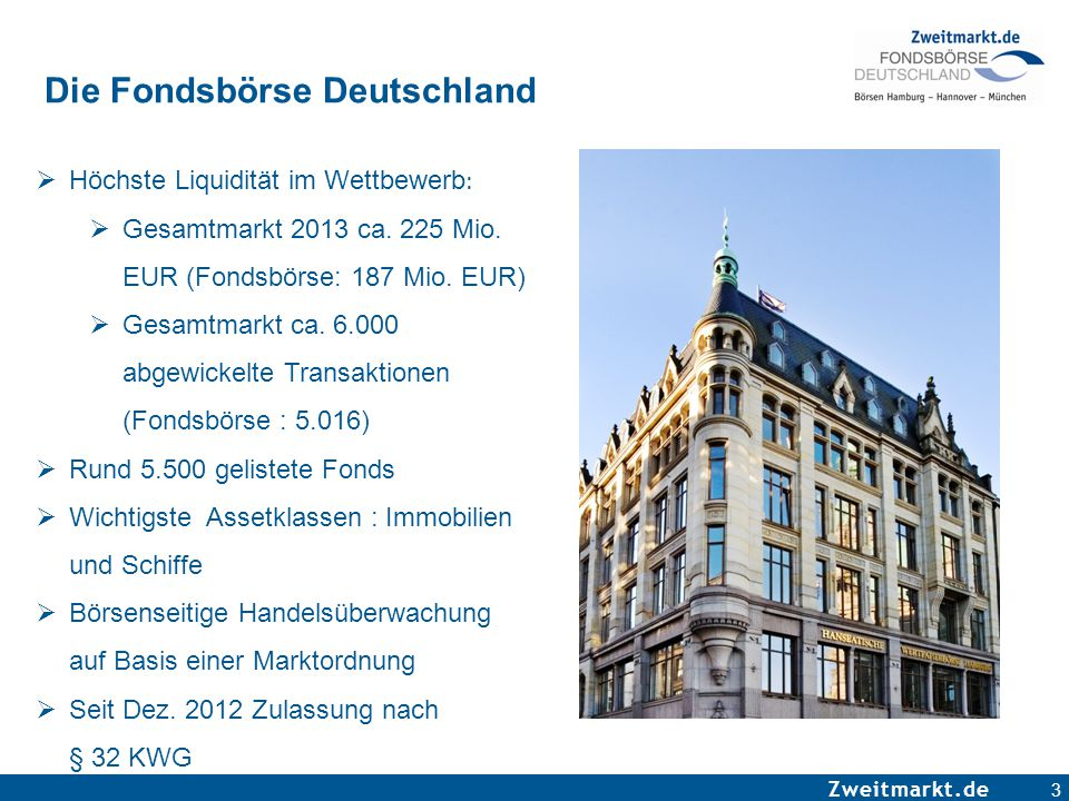 Zweitmarkt.de 3 Die Fondsbörse Deutschland  Höchste Liquidität im Wettbewerb :  Gesamtmarkt 2013 ca. 225 Mio. EUR (Fondsbörse: 187 Mio. EUR)  Gesam