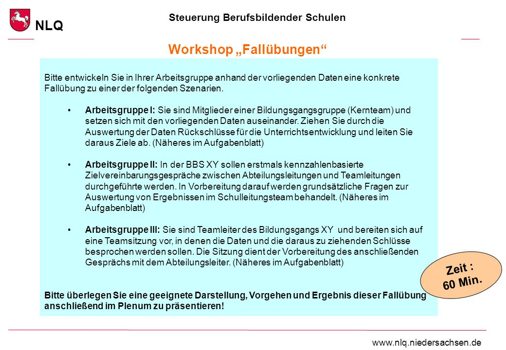 """Steuerung Berufsbildender Schulen NLQ www.nlq.niedersachsen.de Workshop """"Fallübungen"""" Bitte entwickeln Sie in Ihrer Arbeitsgruppe anhand der vorliegen"""
