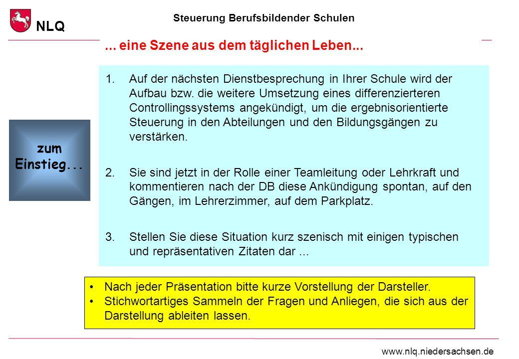 Steuerung Berufsbildender Schulen NLQ www.nlq.niedersachsen.de... eine Szene aus dem täglichen Leben... 1.Auf der nächsten Dienstbesprechung in Ihrer