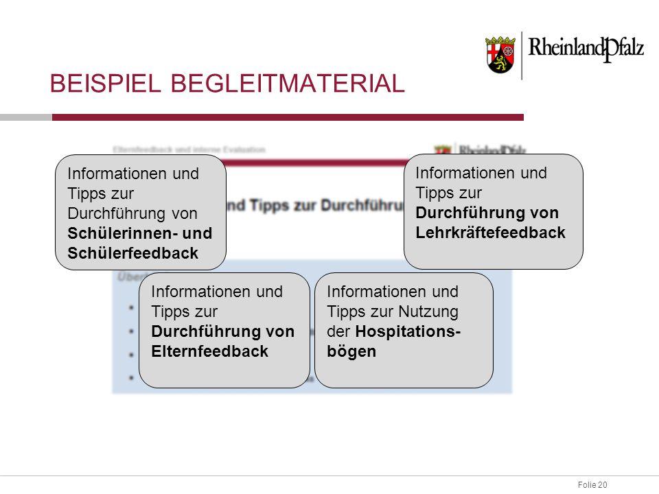 Folie 20 BEISPIEL BEGLEITMATERIAL Informationen und Tipps zur Durchführung von Schülerinnen- und Schülerfeedback Informationen und Tipps zur Durchführ