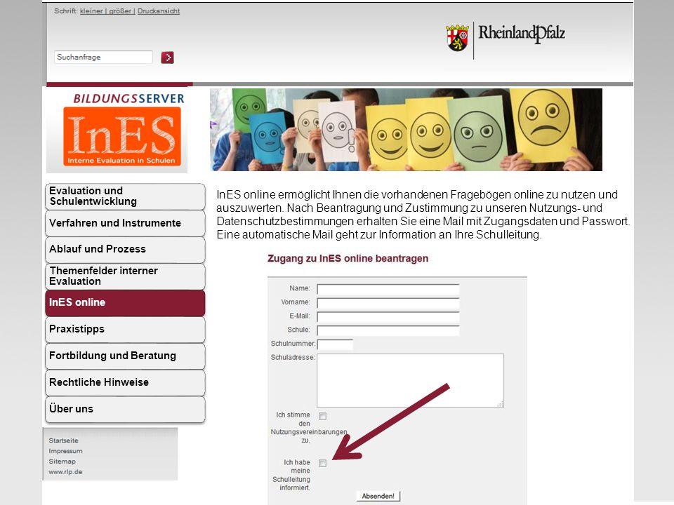 InES online ermöglicht Ihnen die vorhandenen Fragebögen online zu nutzen und auszuwerten. Nach Beantragung und Zustimmung zu unseren Nutzungs- und Dat