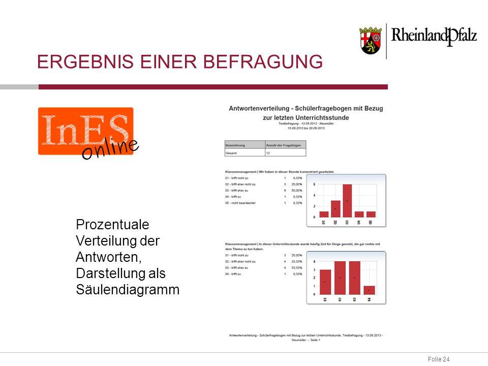Folie 24 ERGEBNIS EINER BEFRAGUNG Prozentuale Verteilung der Antworten, Darstellung als Säulendiagramm