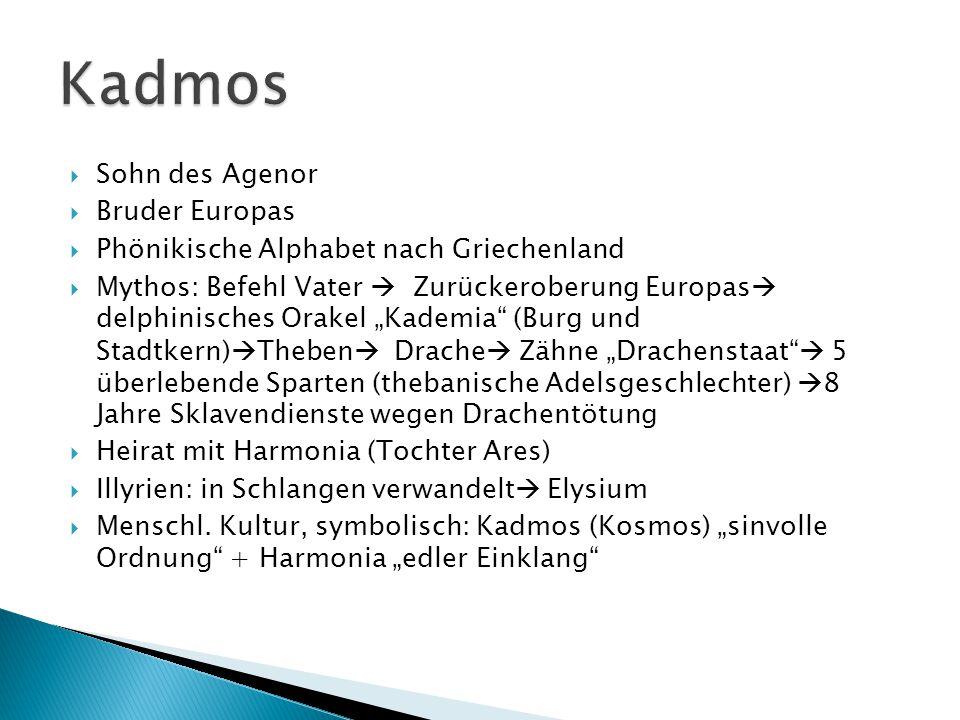 """ Sohn des Agenor  Bruder Europas  Phönikische Alphabet nach Griechenland  Mythos: Befehl Vater  Zurückeroberung Europas  delphinisches Orakel """"K"""