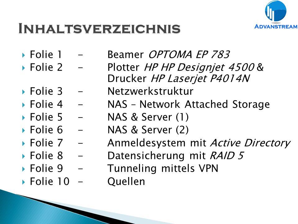  Folie 1-Beamer OPTOMA EP 783  Folie 2-Plotter HP HP Designjet 4500 & Drucker HP Laserjet P4014N  Folie 3-Netzwerkstruktur  Folie 4-NAS – Network Attached Storage  Folie 5-NAS & Server (1)  Folie 6-NAS & Server (2)  Folie 7-Anmeldesystem mit Active Directory  Folie 8-Datensicherung mit RAID 5  Folie 9-Tunneling mittels VPN  Folie 10-Quellen