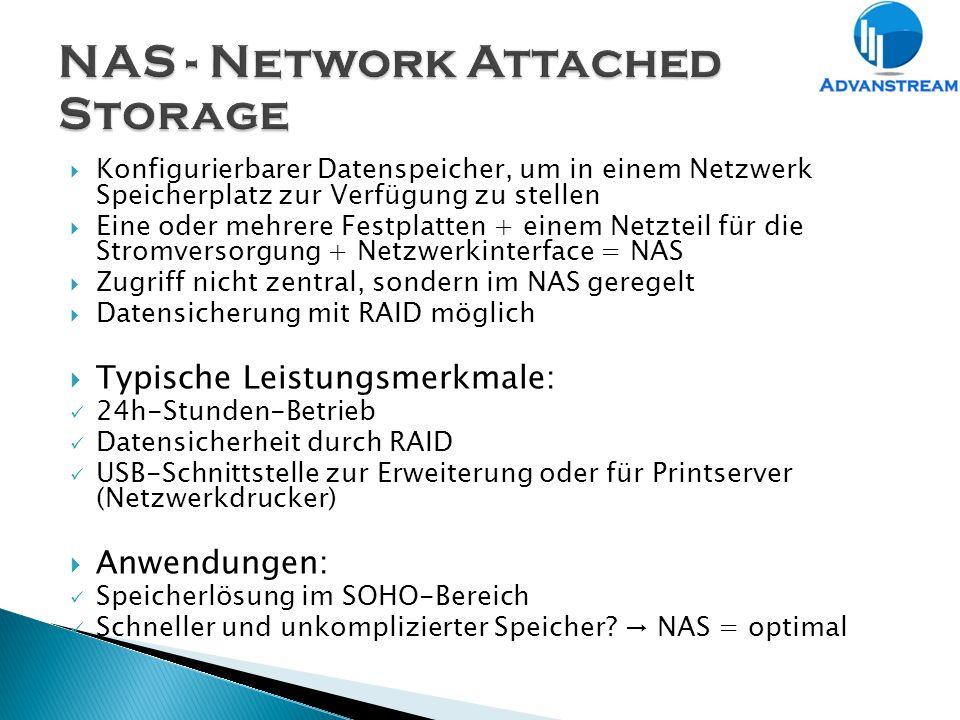  Konfigurierbarer Datenspeicher, um in einem Netzwerk Speicherplatz zur Verfügung zu stellen  Eine oder mehrere Festplatten + einem Netzteil für die Stromversorgung + Netzwerkinterface = NAS  Zugriff nicht zentral, sondern im NAS geregelt  Datensicherung mit RAID möglich  Typische Leistungsmerkmale: 24h-Stunden-Betrieb Datensicherheit durch RAID USB-Schnittstelle zur Erweiterung oder für Printserver (Netzwerkdrucker)  Anwendungen: Speicherlösung im SOHO-Bereich Schneller und unkomplizierter Speicher.