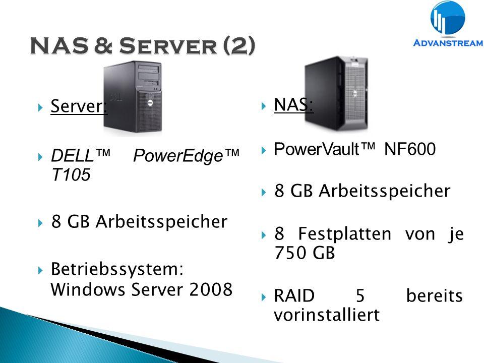  NAS:  PowerVault™ NF600  8 GB Arbeitsspeicher  8 Festplatten von je 750 GB  RAID 5 bereits vorinstalliert  Server:  DELL™ PowerEdge™ T105  8 GB Arbeitsspeicher  Betriebssystem: Windows Server 2008