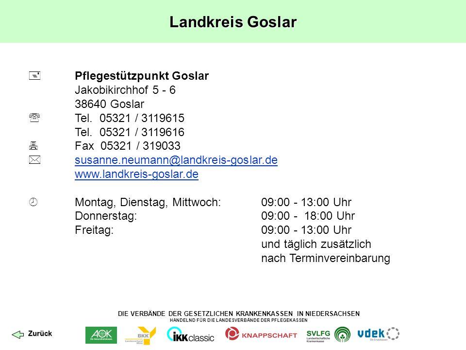DIE VERBÄNDE DER GESETZLICHEN KRANKENKASSEN IN NIEDERSACHSEN HANDELND FÜR DIE LANDESVERBÄNDE DER PFLEGEKASSEN Landkreis Goslar  Pflegestützpunkt Gosl