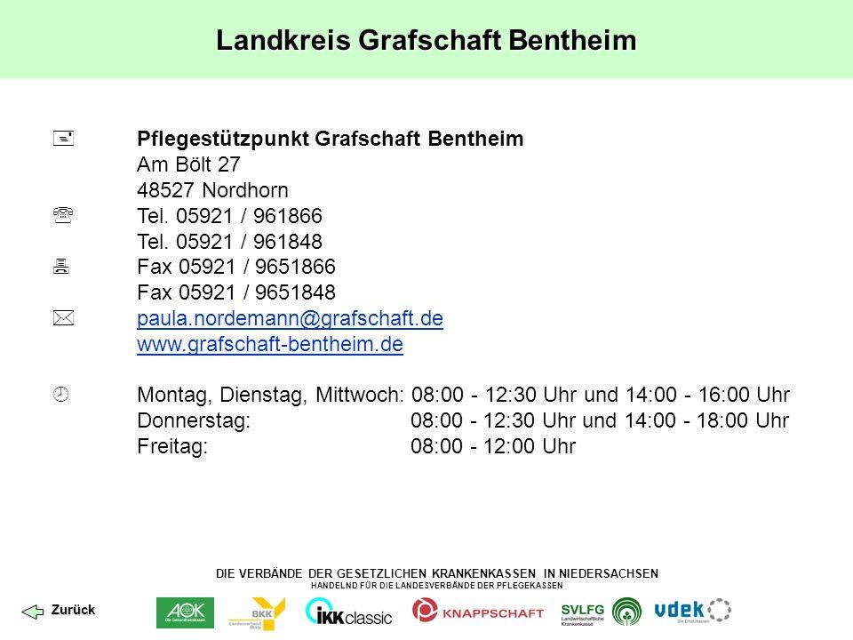 DIE VERBÄNDE DER GESETZLICHEN KRANKENKASSEN IN NIEDERSACHSEN HANDELND FÜR DIE LANDESVERBÄNDE DER PFLEGEKASSEN Landkreis Grafschaft Bentheim  Pflegest