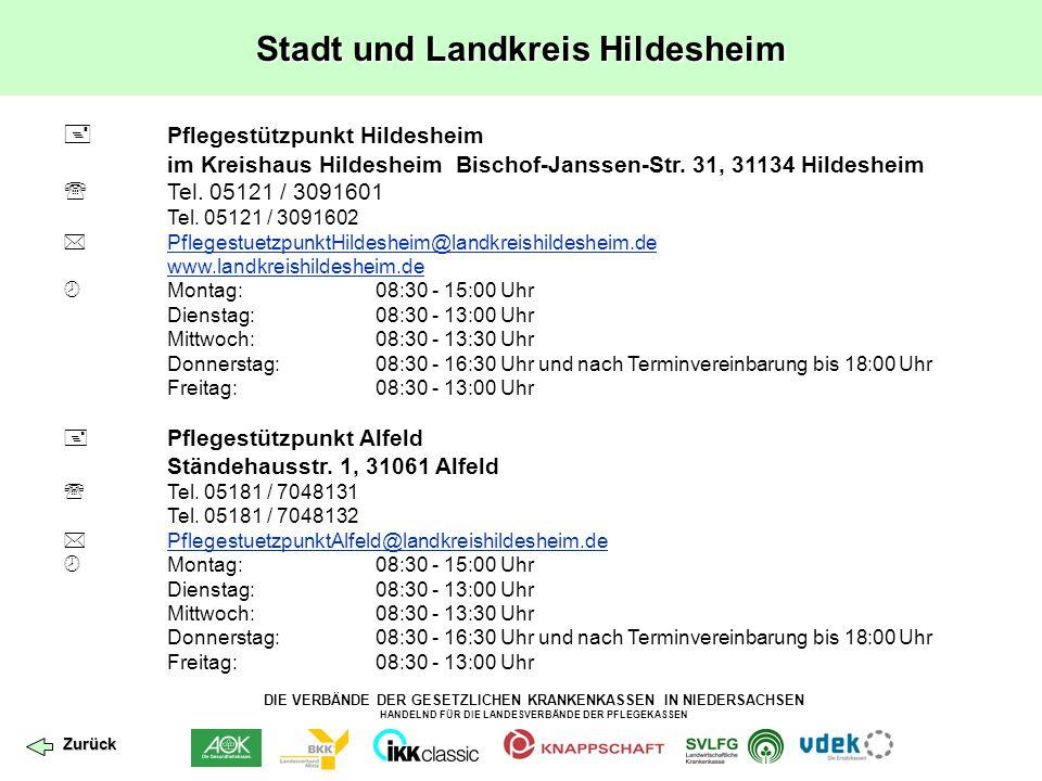 DIE VERBÄNDE DER GESETZLICHEN KRANKENKASSEN IN NIEDERSACHSEN HANDELND FÜR DIE LANDESVERBÄNDE DER PFLEGEKASSEN Stadt und Landkreis Hildesheim  Pfleges