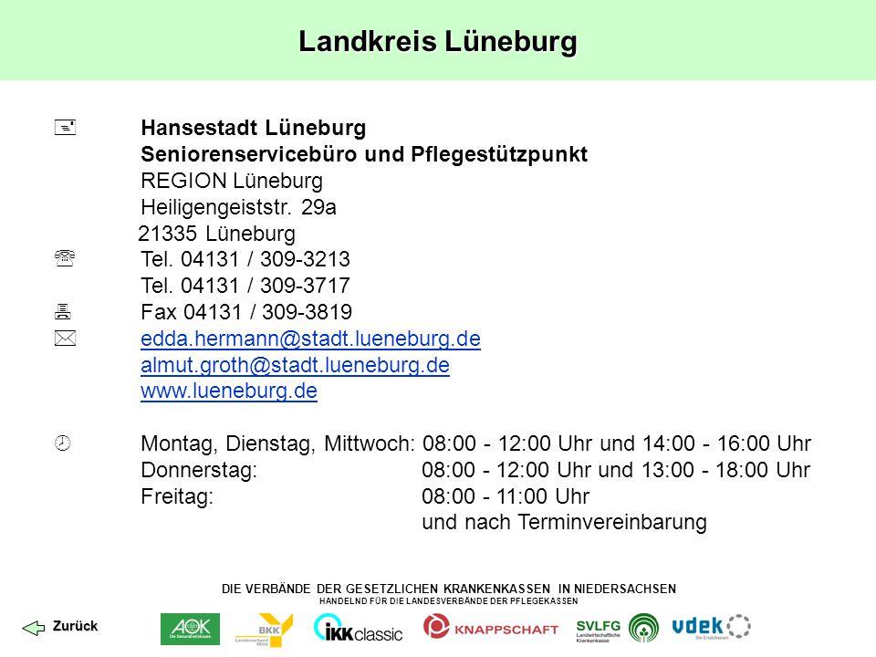 DIE VERBÄNDE DER GESETZLICHEN KRANKENKASSEN IN NIEDERSACHSEN HANDELND FÜR DIE LANDESVERBÄNDE DER PFLEGEKASSEN Landkreis Lüneburg  Hansestadt Lüneburg