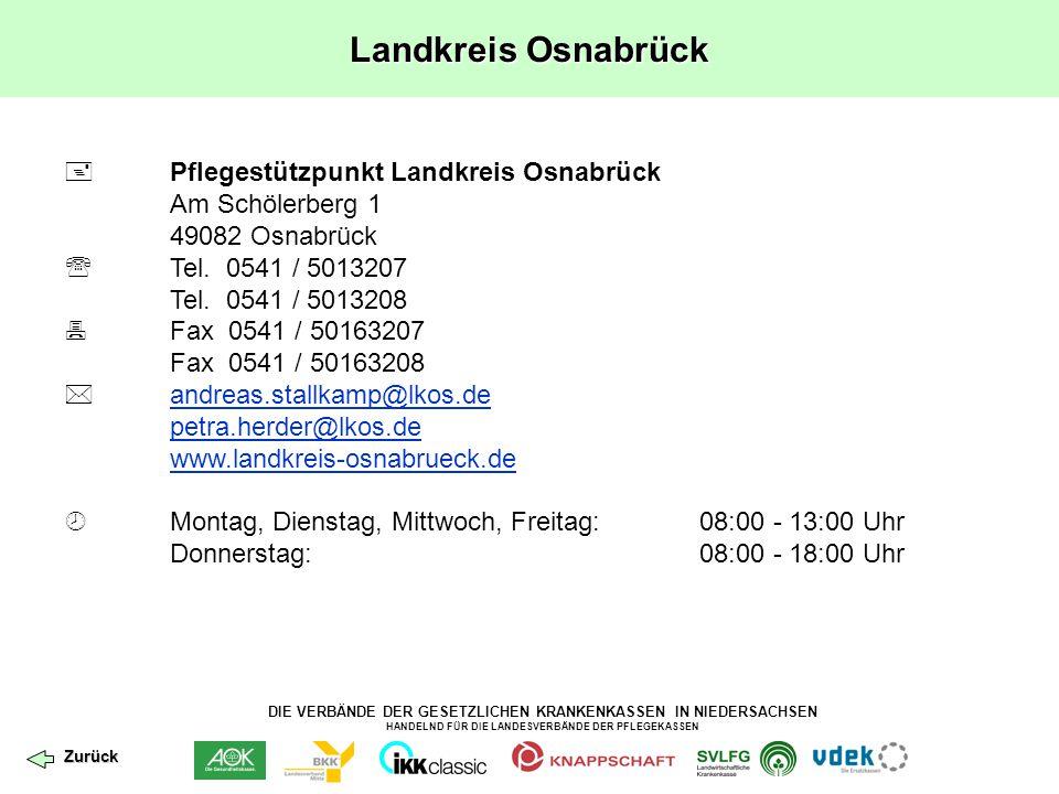 DIE VERBÄNDE DER GESETZLICHEN KRANKENKASSEN IN NIEDERSACHSEN HANDELND FÜR DIE LANDESVERBÄNDE DER PFLEGEKASSEN Landkreis Osnabrück  Pflegestützpunkt L