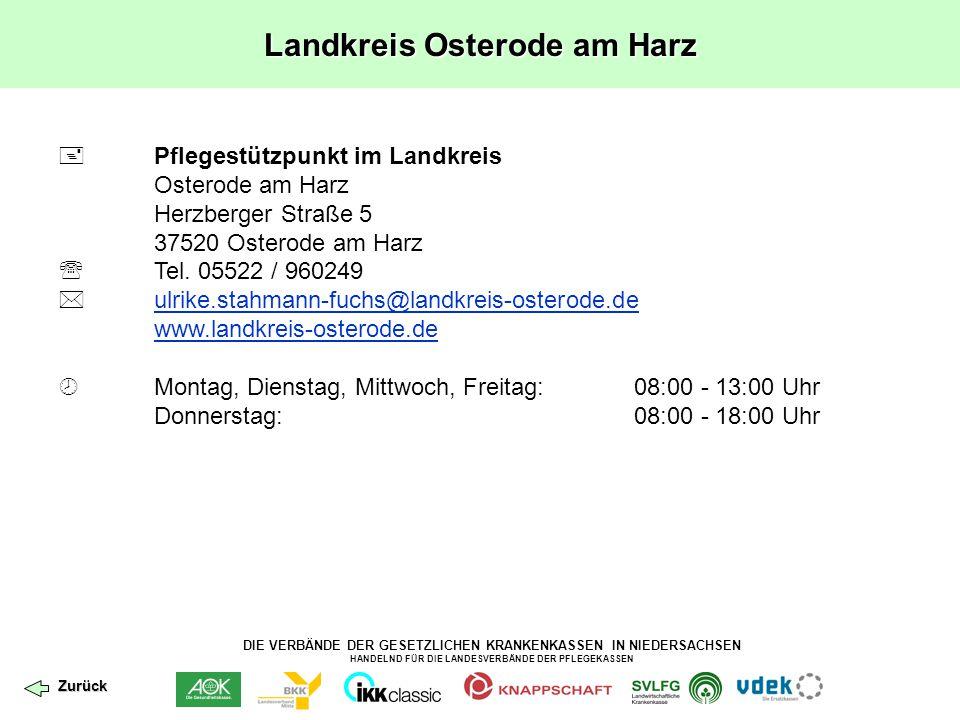 DIE VERBÄNDE DER GESETZLICHEN KRANKENKASSEN IN NIEDERSACHSEN HANDELND FÜR DIE LANDESVERBÄNDE DER PFLEGEKASSEN Landkreis Osterode am Harz  Pflegestütz