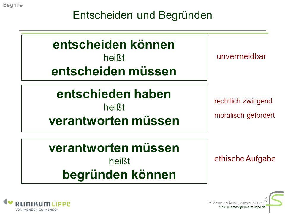 """fred.salomon@klinikum-lippe.de Ethikforum der ÄKWL, Münster 23.11.11 14 Hindernisse Mangelnder Mut, eigene Hilflosigkeit zu zeigen """"Fragen stellen heißt Schwäche zeigen. Jeder hat moralische Kompetenz, viele verwechseln das mit ethischer Analyse """"Weil ich selbst ein Herz habe, brauche ich keinen Kardiologen. """"Was Ethik ist, bestimme ich! Auf Ethik wird nur gepocht, um andere moralisch unter Druck zu setzen """"Sie wollen schon nach Hause gehen."""