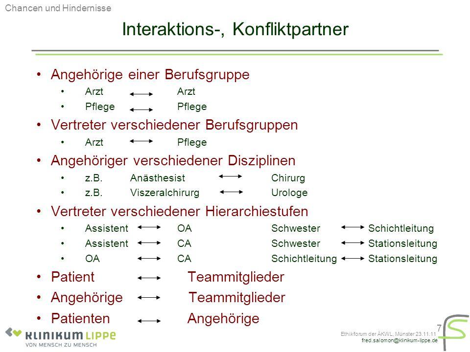 fred.salomon@klinikum-lippe.de Ethikforum der ÄKWL, Münster 23.11.11 7 Interaktions-, Konfliktpartner Angehörige einer Berufsgruppe Arzt Pflege Vertre