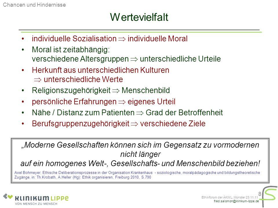 fred.salomon@klinikum-lippe.de Ethikforum der ÄKWL, Münster 23.11.11 8 Wertevielfalt individuelle Sozialisation  individuelle Moral Moral ist zeitabh