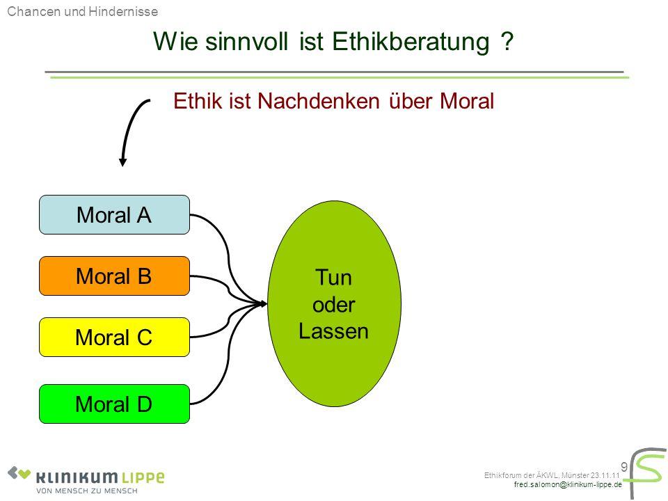 fred.salomon@klinikum-lippe.de Ethikforum der ÄKWL, Münster 23.11.11 9 Wie sinnvoll ist Ethikberatung ? Ethik ist Nachdenken über Moral Chancen und Hi