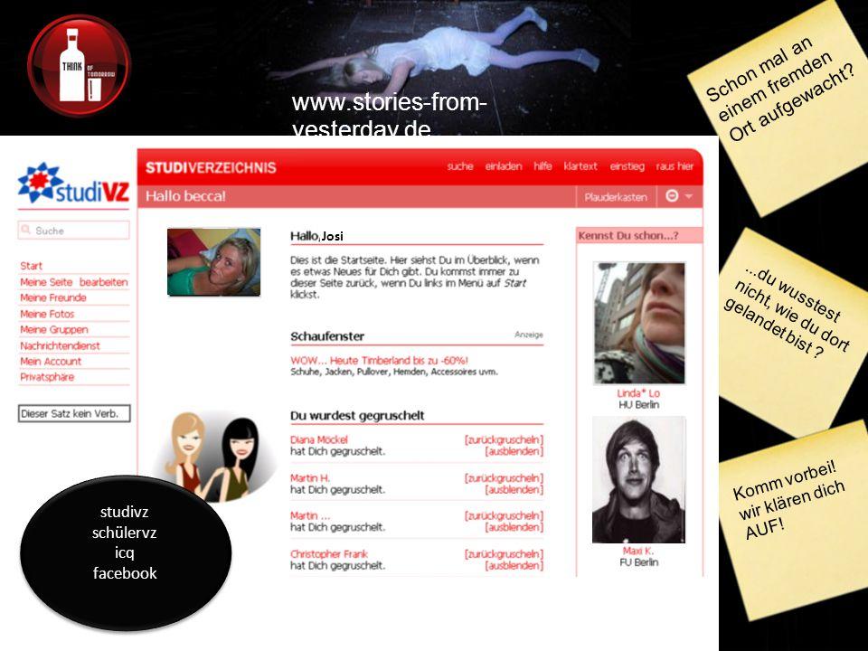 www.stories-from- yesterday.de Schon mal an einem fremden Ort aufgewacht?...du wusstest nicht, wie du dort gelandet bist .