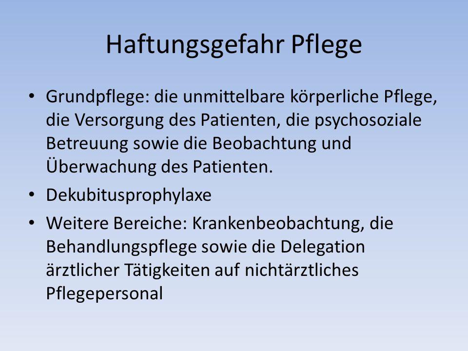 Haftungsgefahr Pflege Grundpflege: die unmittelbare körperliche Pflege, die Versorgung des Patienten, die psychosoziale Betreuung sowie die Beobachtung und Überwachung des Patienten.
