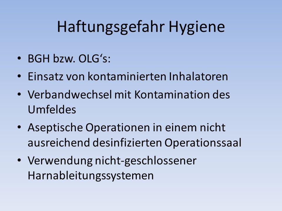 Haftungsgefahr Hygiene BGH bzw.